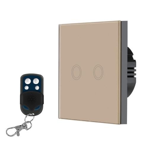EU / UK標準スマートリモコンウォールタッチスイッチ防水難燃剤高感度ラグジュアリークリスタルガラススイッチパネルタッチスクリーン433MHz / 1527リモコン1Gangシャンパンゴールドパネルホームオートメーション