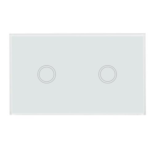 US / AU-Standardwand-Berührungsschalter-wasserdichtes feuerverzögerndes hochempfindliches Luxuskristallglas-Schalter-Touch Screen Verkleidungs-Einzelnes Feuer-Draht-2 Gang-Weiß-Feld-Haus-Automatisierung