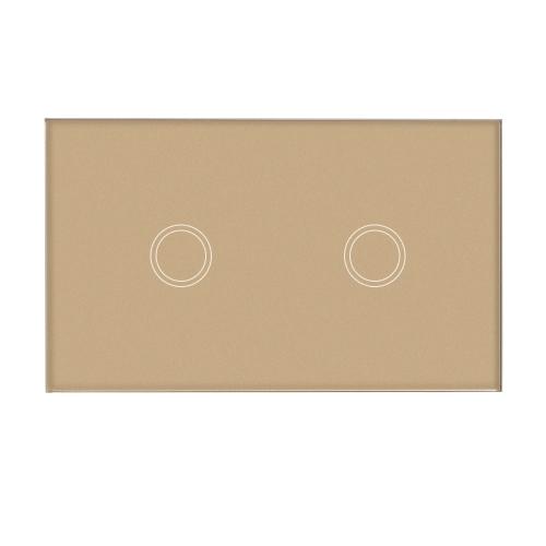 US / AU-Standardwand-Berührungsschalter-wasserdichtes feuerverzögerndes hochempfindliches Luxuskristallglas-Schalter-Platten-Touch Screen einzelnes Feuer-Draht-2 Gang-Champagne-Goldfeld-Hauptautomatisierung