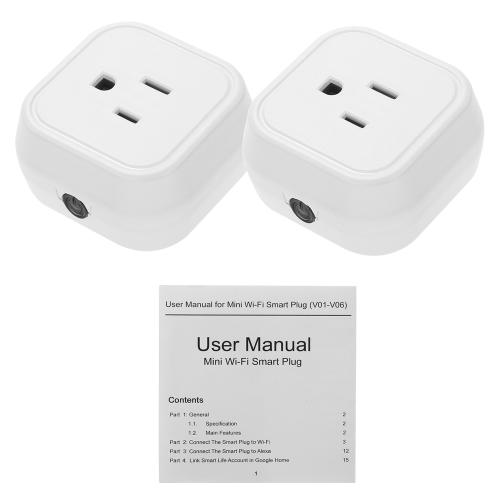 Mini Wifi Smart US-Stecker Sprachsteuerung für Amazon Alexa für Google Home / Nest IFTTT für TP-Link (2 Pack)