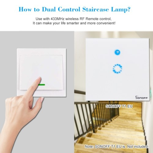2PCS SONOFF Push Button Wall Light Switch Remote Controller 1 Gang 86 Type ON/Off Switch Panel 433MHz Wireless RF Remote Control Transmitter with Stickers Free Position Flexible For Home Living Room Bedroom