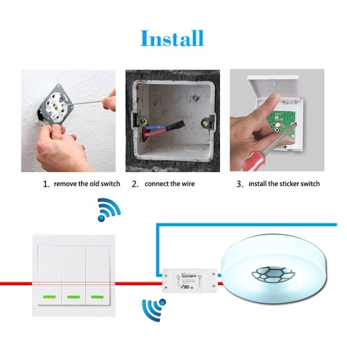 2PCS eWeLink Push Button Wall Light Switch Remote Controller 3 Gang 86 Type ON/Off Switch Panel 433MHz Wireless RF Remote Control Transmitter with Stickers Free Position Flexible For Home Living Room Bedroom