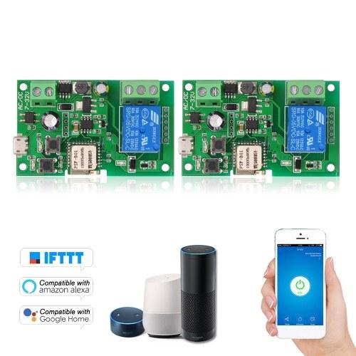 2PCS eWeLink DC5V 12V 24V 32V Wifi Switch Wireless Relay Module Smart Home  Automation Modules Phone APP Remote Control Timer Switch Alexa Google Home