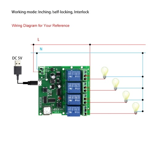 2PCS eWeLink Smart Remote Control Wireless Switch Universal Module 4ch DC 5V 12V 32V Wifi Switch Timer Phone APP Remote Control Support Alexa Google Home Voice Control for Smart Home