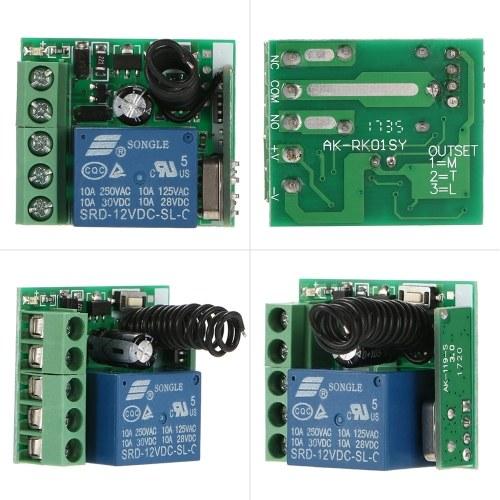 Smart Home 433Mhz DC 12V 1CH Беспроводной дистанционный переключатель Релейный приемник Передатчик Универсальный пульт дистанционного управления и 2PCS RF-передатчик Пульты дистанционного управления 1527 фото