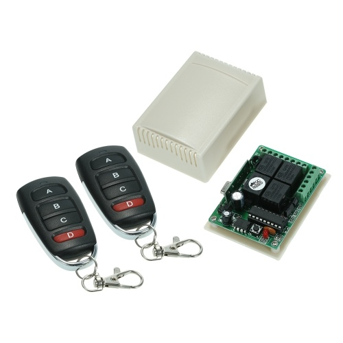 Wireless Remote Control Switch Receiver Module and 2PCS 4 Key RF 433 Mhz Transmitter Remote Controls