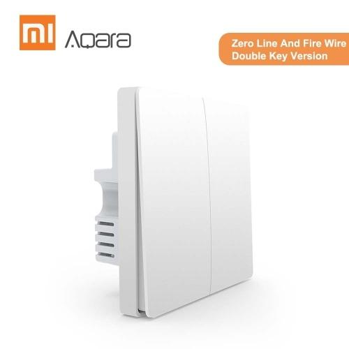 Aqara QBKG12LMウォールスイッチインテリジェントホームスイッチングリモートコントロールホームキットMiホームアプリ(ゼロラインおよびファイヤーワイヤーダブルキーバージョン)