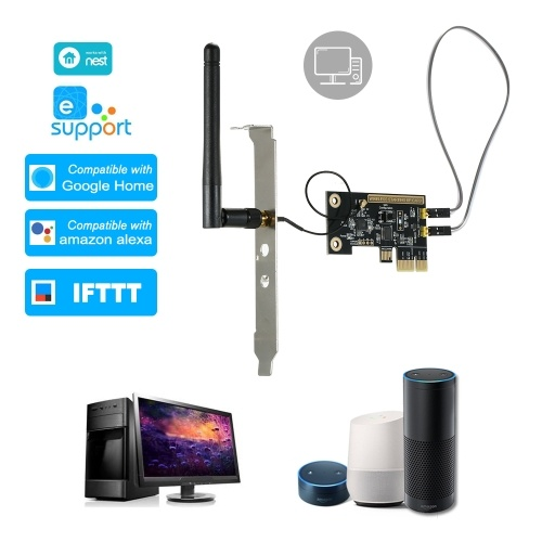 eWeLink Mini PCI-e Desktop PC Remote Control Switch Card WiFi Wireless Smart Switch Relay Module Wireless Restart Switch Turn On/OFF Computer Boot Card with External Antenna & 2PCS Fixed Plate for Smart Home