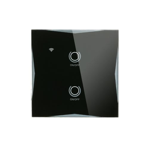 Wi-Fi Smart Wall Touch Switch 2 Gang Стеклянная панель Мобильное приложение Tuya / Таймер сенсорного управления Нет концентратора Требуется Совместимо с Google Home / Nest & Amazon Alexa фото