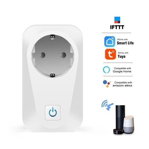 S02 Smart Wi-Fi Enchufe Socket Teléfono Control remoto Temporizador Función Cuenta atrás Control de voz Compatible con Amazon Alexa y Google Inicio Circuito Seguridad Consumo de electricidad Recuento de consumo Enchufe de la UE