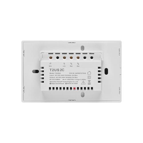 SONOFF T2US2C-TX 2 Gang Smart WiFi Interruttore applique da parete 433Mhz Telecomando RF APP / Timer controllo tocco Smart Switch pannello standard USA Compatibile con Google Home / Nest & Alexa