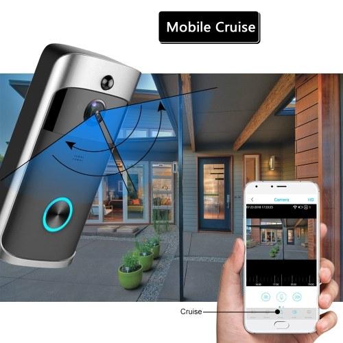 Smart HD 720P Wireless Video Intercom WI-FI Video Door Phone Visual Door Bell WIFI Doorbell Camera for Apartments IR Alarm Wireless Security Camera with Batteries & 2 Chime Black