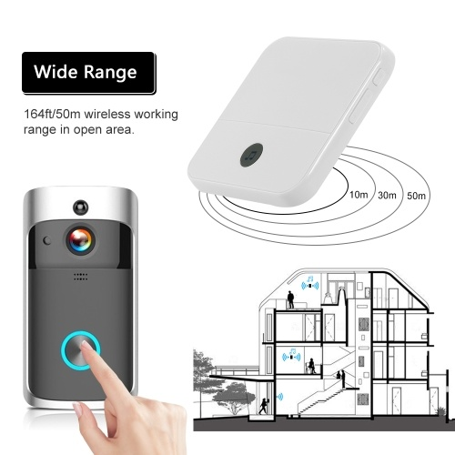 Smart HD 720P Wireless Video Intercom WI-FI Video Door Phone Visual Door Bell WIFI Doorbell Camera for Apartments IR Alarm Wireless Security Camera with 2 Plug-in Chime Black