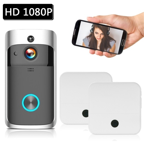 Smart HD 1080P Wireless Video Intercom WI-FI Video Door Phone Visual Door Bell WIFI Doorbell Camera for Apartments IR Alarm Wireless Security Camera with Batteries & 2 Chimes Black