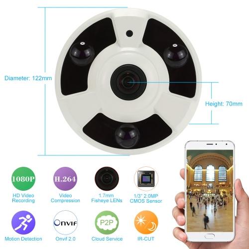 KKmoon® H.264 HD 1080P 1.7mm Fisheye 360 ° Caméra IP panoramique