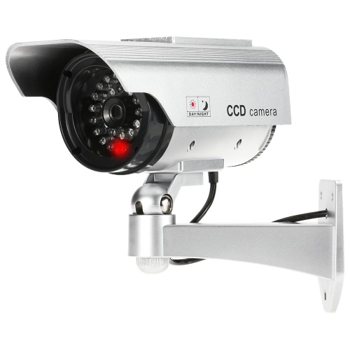 LED light Simulation Dummy Bullet Camera Solar Powered Fake Rainproof CCTV Security System for Indoor Outdoor Use