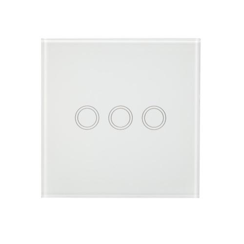 EU / UK-Wand-Berührungsschalter-wasserdichtes feuerverzögerndes energiesparendes hochsensitives Luxusglas-Verkleidungs-Touch Screen einzelner Feuer-Draht 1 Gang-weiße Platte-Haus-Automatisierung