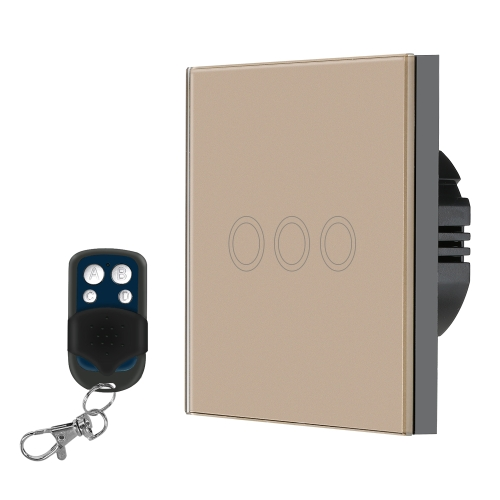 EU / UK Standard Smart Fernbedienung Wand Touch-Schalter Wasserdicht Feuerhemmend Hochempfindlich Luxus Kristallglas Schalter Panel Touch Screen Einzigen Fire Wire mit 433MHz / 1527 Fernbedienung 1Gang Champagne Gold Panel Home Automation