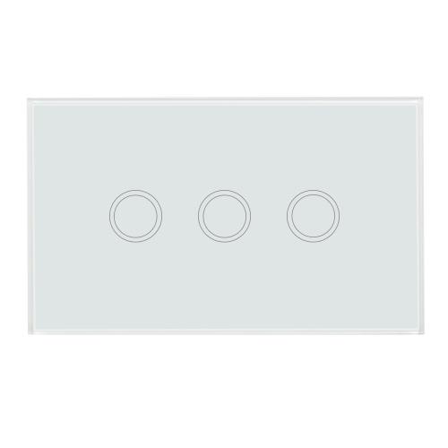 US / AU Standardwand-Berührungsschalter-wasserdichtes feuerverzögerndes hochempfindliches Luxuxkristallglas-Schalter-Touch Screen Verkleidungs-Einzelnes Feuer-Draht-3 Gang-Weiß-Feld-Hauptautomatisierung