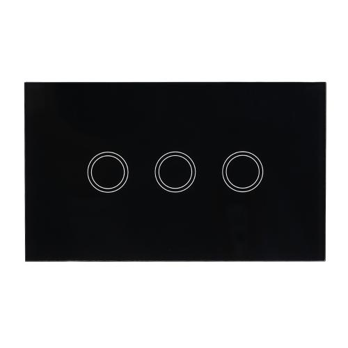 US / AU-Standardwand-Berührungsschalter-wasserdichtes feuerverzögerndes hochempfindliches Luxuskristallglas-Schalter-Platten-Touch Screen einzelnes Feuer-Draht 1 Gruppen-Schwarz-Platten-Haus-Automatisierung