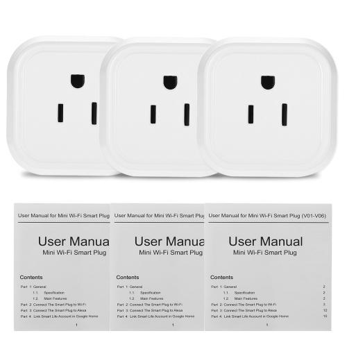 Mini Wifi Smart US-Stecker Sprachsteuerung für Amazon Alexa für Google Home / Nest IFTTT für TP-Link (3 Pack)
