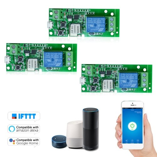 3PCS eWeLink USB DC5V Wifi Switch Wireless Relay Module Smart Home Automation Modules Phone APP Remote Control Timer Switch Alexa Google Home Voice Control for Access Control System Inching/Self-Locking
