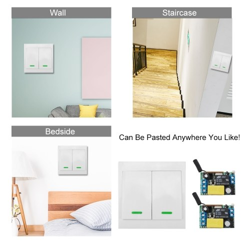 2PCS Wireless Remote Control Switch AC 220V Receiver 433MHz Push Button 2 Gang Wall Light Switch Panel Remote Transmitter with Stickers Free Position Flexible For Home Living Room Bedroom Lamp LED Bulb