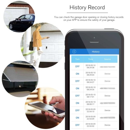WiFi Smart Switch Garage Door Controller Compatible Garage Door Opener Smart Phone Remote Control Timing Function Voice Control