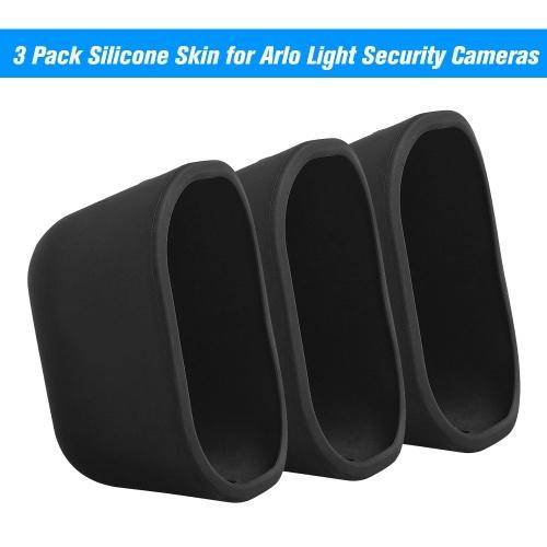 Pack de 3 fundas de silicona para cámaras de seguridad Arlo Light Funda resistente a la intemperie resistente a los rayos UV, negro