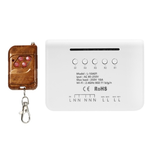 eWeLink 4CH WIFIスイッチモジュールRF 433MHz 4ギャングワイヤレススマートスイッチ+ 1PCS 4ボタンリモートコントローラー