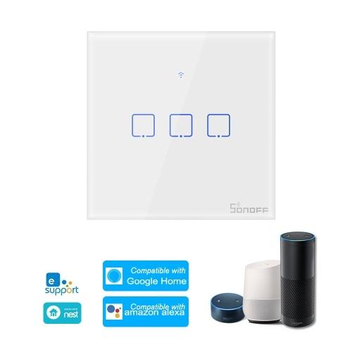 SONOFF T0UK3C-TX 3 Gang Interruptor Interruptor de Luz de Parede Wi-fi Inteligente APLICATIVO / Controle de Toque Temporizador UK Padrão Painel Interruptor Inteligente Compatível com o Google Home / Nest & Alexa