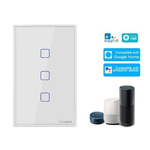 SONOFF T0US3C-TX 3 Gang Smart WiFi Interruttore per applique da parete APP / Touch Control Timer Smart Switch pannello standard US Compatibile con Google Home / Nest & Alexa