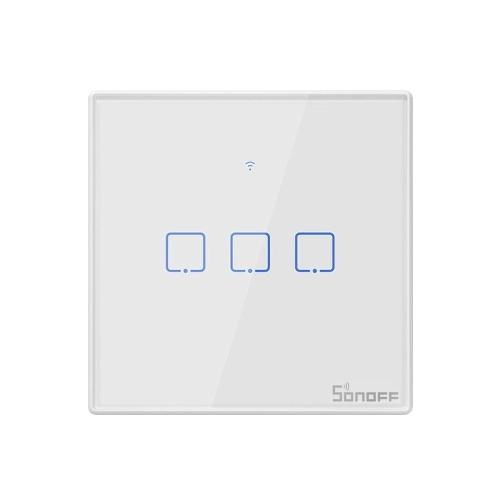 SONOFF T2UK3C-TX 3-fach Smart WiFi-Wandlichtschalter 433 MHz RF-Fernbedienung APP / Touch Control Timer UK-Standard-Smart-Panel-Schalter Kompatibel mit Google-Startseite / Nest & Alexa