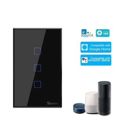 SONOFF T3US3C-TX Interruptor de luz de parede WiFi inteligente de 3 grupos