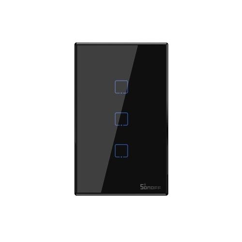 SONOFF T3US3C-TX 3 Gang Smart WiFi Interruttore applique da parete 433Mhz Telecomando RF APP / Timer controllo tocco Smart Switch pannello standard USA Compatibile con Google Home / Nest & Alexa