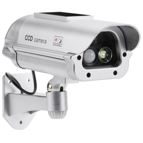 Simulation PIR Sensor Detector CCTV Camera Solar Powered Fake Dummy Rainproof Bullet Security Camera for Indoor Outdoor Use