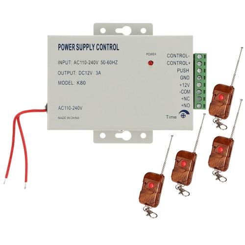 AC110-240V bis 12V / 3A Stromversorgung + 4 * Fernbedienung Unterstützung Sperre Zeitverzögerung für Türeinstieg Access Control System