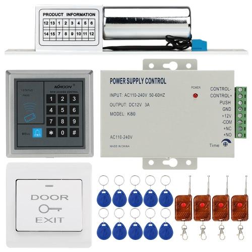 KKmoon® DC12V 125kHz Tür Eintrag Access Control System mit Zutrittsleser + Elektroschloss + Stromversorgung + Push Button + 4 * Fernbedienung + 10 * RFID-Karte