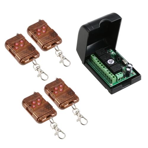 Smart Home 433 Mhz RF 4CH Drahtloser Fernsteuerungsschalter + 4 * Fernbedienung 1527
