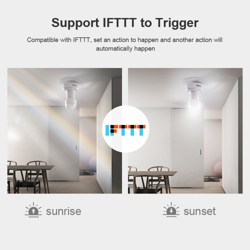 SONOFF SlampherR2 ITEAD WiFi Smart Light Bulb Holder 433MHz RF Wireless Lamp Holder Smart APP Control Voice Control Compatible with Amazon Alexa Google Home/Nest E27 for Smart Home