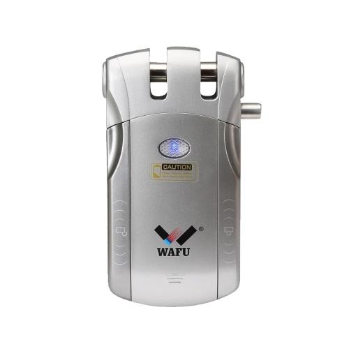 WAFU Bloqueio de Controle Remoto Sem Fio de Segurança Invisível Porta Keyless Fechadura Inteligente com 2 Teclas Remotas para o Sistema de Segurança de Controle de Acesso Do Banheiro Casa Inteligente, prata