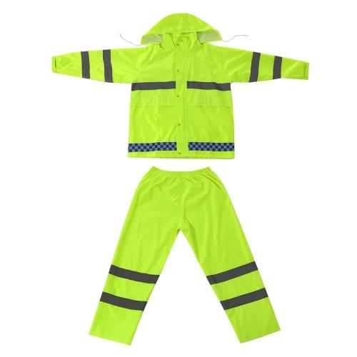 Duty Regenmantel wasserdicht mit Kapuze und Tragetasche Größe 2XL / 175cm Verkehr im Dienst Regenmantel Anzug für Männer und Frauen