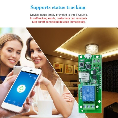 5PCS eWeLink USB DC5V Wifi Switch Wireless Relay Module Smart Home Automation Modules Phone APP Remote Control Timer Switch Alexa Google Home Voice Control for Access Control System Inching/Self-Locking