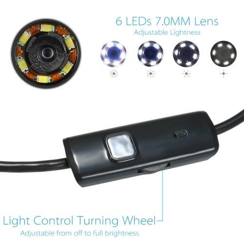 OWSOO 7MM 6 LED Lens Endoscope -5M