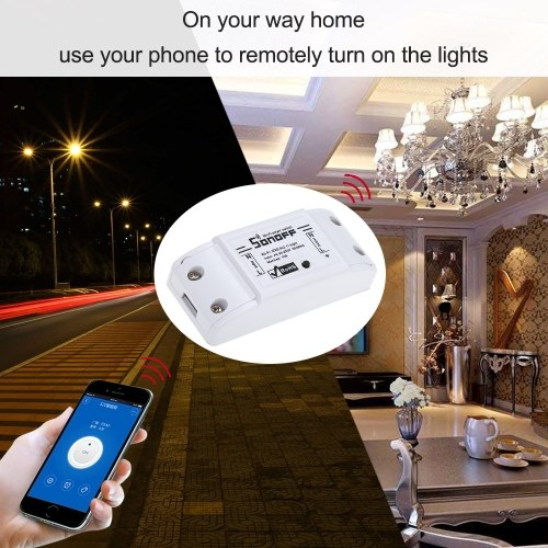 SONOFF Basic Wifi Switch Works with Alexa for Google Home Timer 10A/2200W Wireless Remote Switch for Android/IOS APP Control for Electric Appliances Universal Smart Home Automation Module