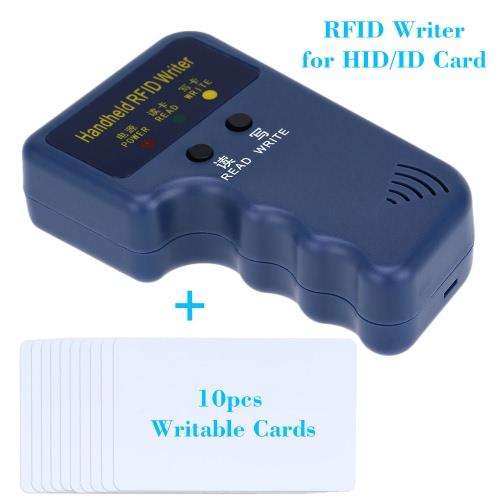 Duplicador de escritor/copiadora portátil 125kHz RFID escondeu/ID cartão + 10pcs gravável T5577 cartões