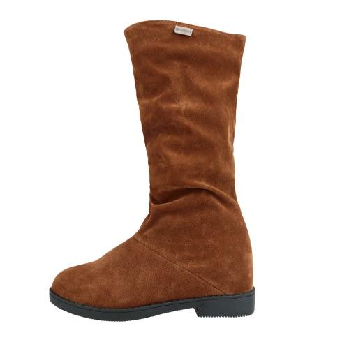 Moda mujer botas a media pierna del ante del Faux ronda Toe oculta cuña talón Slouch Boots marrón/negro/rojo