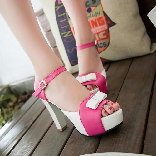 Nuova moda donne sandali pompe Peep Toe blocco alto tacco piattaforma Bow eleganti tacchi alti verde/blu/rosso