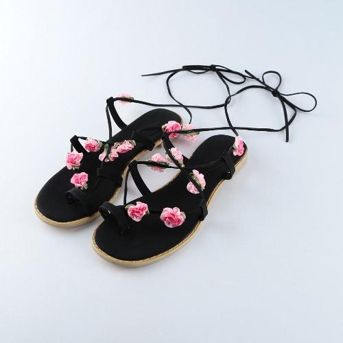Nowi Summer Women Flats Sandals PU Koraliki Skórzane W Górę Pasek Kwiat Round Toe Flip Buty Flop Black / Brown