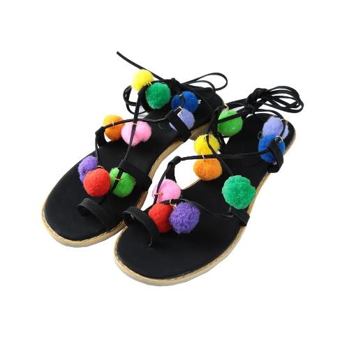 Nova moda mulheres plano de sandálias coloridas Bobble Pompon renda acima do tiras Clip Toe Casual verão praia sapatos preto/marrom